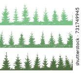 set christmas trees background. ... | Shutterstock .eps vector #731749945