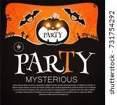happy halloween poster template.... | Shutterstock .eps vector #731754292
