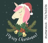 merry christmas unicorn card.... | Shutterstock .eps vector #731763256