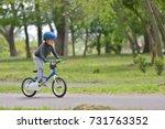 happy kid boy of 5 years having ... | Shutterstock . vector #731763352