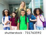 the pre teen school children... | Shutterstock . vector #731763592