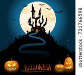 dark castle in front of full...   Shutterstock .eps vector #731766598