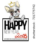 cute dog illustration with... | Shutterstock .eps vector #731775742