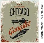 vintage gangster vehicle vector ... | Shutterstock .eps vector #731788552