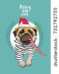 christmas card. pug dog in a... | Shutterstock .eps vector #731792755