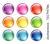 set of shiny blank round... | Shutterstock .eps vector #731794786