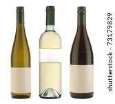 three vector wine bottles