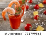 glass with shrimp cocktail and... | Shutterstock . vector #731799565