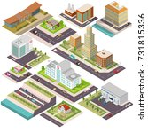 isometric set of buildings.... | Shutterstock .eps vector #731815336