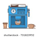 coffee machine for make coffee... | Shutterstock .eps vector #731823952