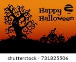 happy halloween card. tree ... | Shutterstock . vector #731825506
