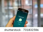 Small photo of MONTREAL, CANADA - SEPTEMBER 28, 2017 - Whatsapp mobile application on screen of Samsung S7. WhatsApp Messenger is a freeware and cross-platform instant messaging service for smartphones
