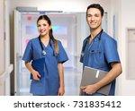 portrait of two nurse in a... | Shutterstock . vector #731835412