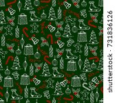 christmas seamless texture with ... | Shutterstock .eps vector #731836126