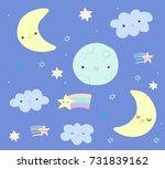 cute night sky clip art set... | Shutterstock .eps vector #731839162
