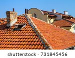 city landscape   red tiled... | Shutterstock . vector #731845456