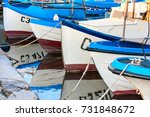 colorful boats  moored in the... | Shutterstock . vector #731848672