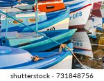 colorful boats  moored in the... | Shutterstock . vector #731848756