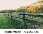 old wooden fence on the... | Shutterstock . vector #731851426