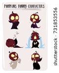 halloween pumpkin characters... | Shutterstock .eps vector #731853556