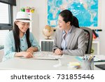 Small photo of happy cheerful female traveler pointing map to ask trip question and discussing best itinerary plan with travel agent company business woman.