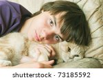 portrait of young man with long ... | Shutterstock . vector #73185592