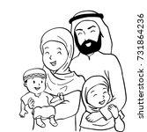 hand drawn of happy muslim...   Shutterstock .eps vector #731864236