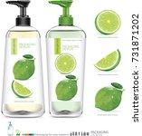 green lemon slice with package... | Shutterstock .eps vector #731871202