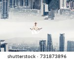 young man keeping eyes closed... | Shutterstock . vector #731873896