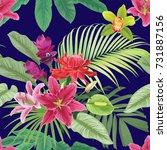 tropical flowers seamless... | Shutterstock .eps vector #731887156
