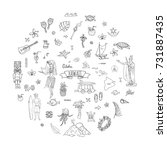 hand drawn doodle hawaii icons...   Shutterstock .eps vector #731887435