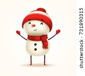 cheerful snowman. vector... | Shutterstock .eps vector #731890315