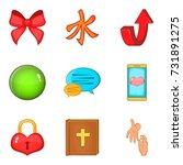 handout icons set. cartoon set... | Shutterstock .eps vector #731891275