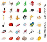 heartbeat icons set. isometric... | Shutterstock .eps vector #731894476