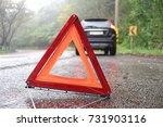 emergency warning triangle  a...   Shutterstock . vector #731903116