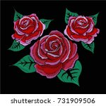 red roses on black background... | Shutterstock .eps vector #731909506