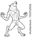 cartoon werewolf howling line... | Shutterstock .eps vector #731912026