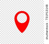 map pointer icon. vector. red... | Shutterstock .eps vector #731913148