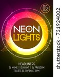neon lights party music poster. ... | Shutterstock .eps vector #731924002