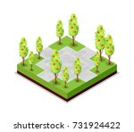 park road and apple trees... | Shutterstock .eps vector #731924422