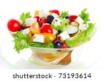 greek salad on white isolated... | Shutterstock . vector #73193614
