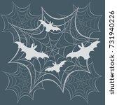 obwebs and bats. halloween... | Shutterstock .eps vector #731940226
