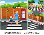 people crossing the street... | Shutterstock .eps vector #731950462