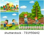 three scenes with family doing... | Shutterstock .eps vector #731950642
