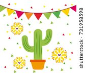 mexican potted cactus flower... | Shutterstock .eps vector #731958598