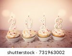 2018 happy new year cupcakes ... | Shutterstock . vector #731963002