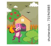 cute purple dog playing...   Shutterstock .eps vector #731965885