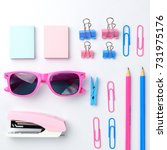 stationary concept  flat lay... | Shutterstock . vector #731975176