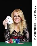 blond woman playing poker | Shutterstock . vector #73198132
