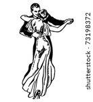 waltzing couple   retro ad art... | Shutterstock .eps vector #73198372